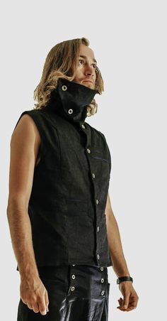High collared side winding button up vest. Many pockets including secret internal zippered pocket. Available in black with stripe turquoise lining. Modern Mens Fashion, Drop Crotch, Modern Man, Collars, Menswear, Vest, Leather Jacket, Turquoise, Pockets