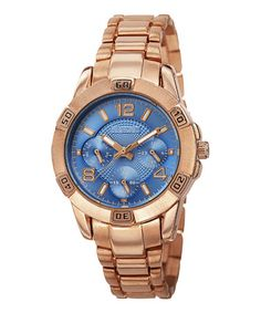 Another great find on #zulily! Rose Goldtone & Blue Multi-Function Bracelet Watch by August Steiner #zulilyfinds