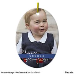Prince George - William & Kate Ceramic Oval Ornament