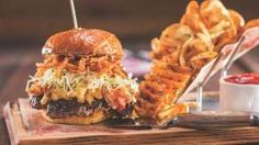 Bacon Mac-N-Cheese Burger from Guy Fieri's Vegas Kitchen & Bar in The Linq Hotel, Las Vegas