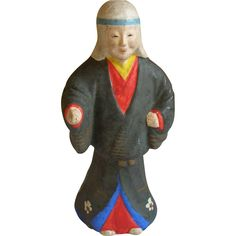 Japanese Clay Folk Art Doll of a Samurai  Ghosts or  Yūrei (幽霊)  Sale price!