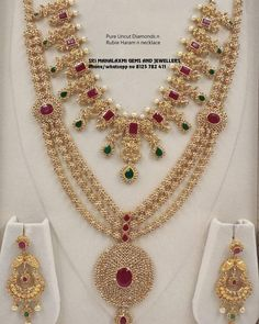 Uncut Diamond Necklace Set by MLJ Gold ~ South India Jewels Gold Earrings Designs, Gold Jewellery Design, Necklace Designs, Diamond Jewellery, Vintage Jewellery, Diamond Rings, Antique Jewelry, Gold Designs, Diamond Necklace Set