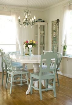 before amp after of my dining room, dining room ideas, home decor, painted furniture, After a super light green on the walls hushed down aqua accents I love my room now It has a beach cottage feel to it