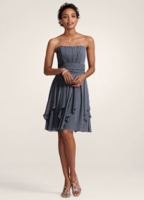 david's bridal strapless chiffon dress