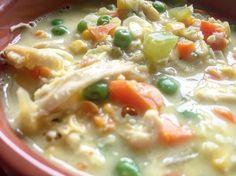 Lightened up chicken pot pie soup crock pot soup Chicken Pot Pie Soup Recipe, Chicken Pot Pie Casserole, Crock Pot Soup, Easy Chicken Recipes, Chicken Soup, Healthy Chicken, Ww Recipes, Soup Recipes, Diabetic Recipes