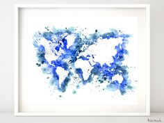 """Instant digital download. Digital printable world map, in watercolor style, made by layering a lot of watercolor strokes. Please zoom in the images to see them better  Included sizes: 10x8"""" and 20x16""""  Color: shades of cobalt blue (shown)"""