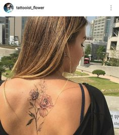 Beautiful back flower tattoo by Korean tattoo artist - Instagram tattooist_flower