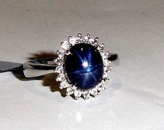 Blue Star Sapphire Oval & White Topaz Halo Ring, Silver, Sizes 8 & 10, 4.53(TCW) #Unbranded #SolitairewithAccents #Birthday