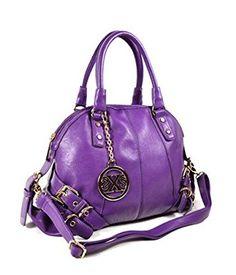 Belted Satchel Handbag (Purple)