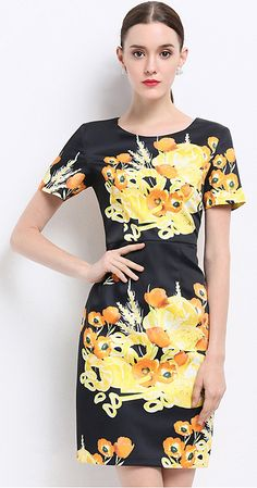 Chic Floral Print O-Neck Short Sleeve Bodycon Dress