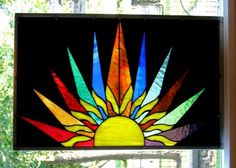 Sunburst Stained Glass Window Panel Abstract Geometric EBSQ Artist | stainedglassheirlooms - Glass on ArtFire
