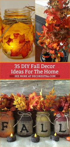 DIY Fall Decor Crafts – Fall Decorating Projects Diy Fall Crafts fall diy crafts to sell Diy Home Decor Rustic, Fall Home Decor, Dyi Fall Decor, Fall Apartment Decor, Decor Diy, Room Decor, Decor Crafts, Diy And Crafts, Crafts For Kids