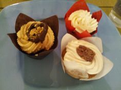 A Wedding Cupcake Trio! Recipes here! Chocolate cupcakes with peanut butter frosting; pumpkin cupcakes with honey cinnamon cream cheese frosting; and chocolate red wine cupcakes with mascarpone whipped cream!!