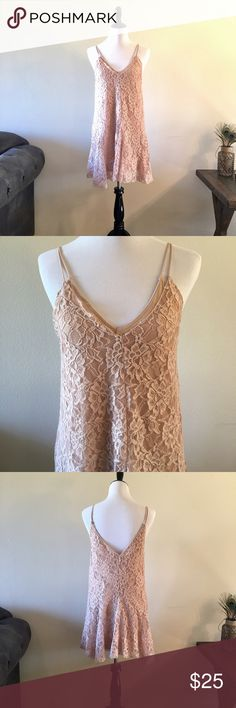 """Zara Lace Slip Dress NWT. Never been worn. Fully lined Slip under lace in tan knit. Slightly uneven lengths at hem without being too jagged. This is so beautiful.💞 Pair with nude heels or sandals. Length approx 33"""". Size Medium. Zara Dresses"""