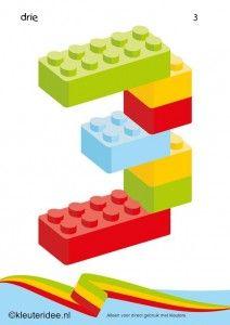 Cijfers van lego 1 -10 voor kleuters, nummer 3 , kleuteridee.nl , lego numbers for preschool 1-10 , free printable.
