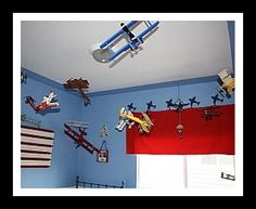 Awesome Airplane Bedroom Theme Ideas And Pictures   Hanging Airplane For Kids  Room