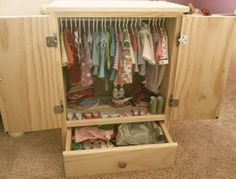 JANUARY 2014 DELIVERY- USA Handmade Solid Wood Doll Armoire/Closet/Dresser For American Girl Dolls