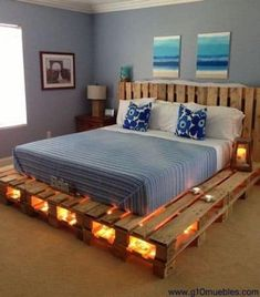 100 DIY recycled pallet bed frame designs - simple pallet DIY Pallet Bed Frame Designs - Simple Pallet Ideaseclectic living room design ideas, boho chic bohemianlivingroom - new ideas Wooden Pallet Beds, Diy Pallet Sofa, Diy Pallet Furniture, Wood Beds, Furniture Ideas, Furniture Layout, Repurposed Furniture, Furniture Making, Rustic Furniture
