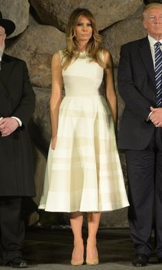 First lady Melania Trump wore a cream sleeveless Roksanda dress with A-line skirt to join her husband President Trump to tour the Yad Vashem Holocaust museum in Jerusalem on May 23, 2017. Photo: Amos Ben Gershom/GPO via Getty Images