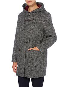 Grey Textured Bonded Duffle Coat