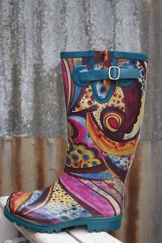 Turquoise Monet Rain Boot I so need these to muck around in the yard & garden in...I would wear them anywhere Sam I Am!!
