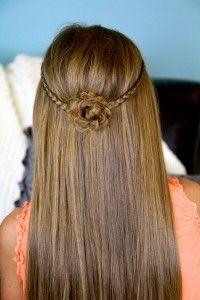 Cute Braided Flower Tieback   Hairstyles for Long Hair