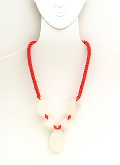 women necklace with white porcelain inserts and coral by FMLdesign
