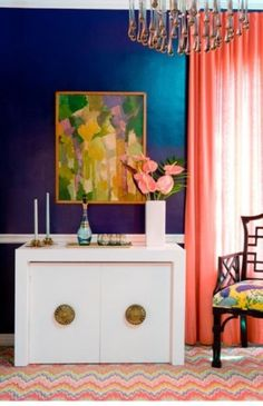 navy and coral bedroom - Google Search Color Inspiration, Interior Inspiration, Bathroom Inspiration, Painting Inspiration, Caitlin Wilson Design, Blue Paint Colors, Bold Colors, Navy Paint, Jewel Colors