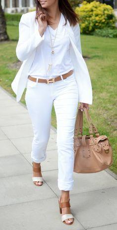 white jeans, white blazer, white t shirt, tan Hermes belt, Mulberry Roxanne