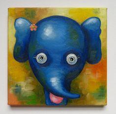 Elephant Portrait Original Art Animals Oil on by MikiMayoShop
