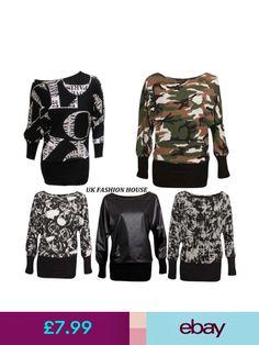 Tops & Shirts Ladies Womens Army Leopard Wetlook Printed Long Sleeve Batwing Top Plus Uk Batwing Top, Uk Fashion, Bat Wings, Camo, Sweatshirts, Long Sleeve, Prints, Sweaters, Clothes