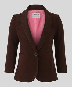 Take a look at this Brown Tux Blazer - Girls by That's Not Fair London on #zulily today!