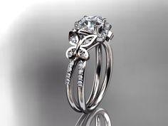 14kt white gold diamond floral butterfly wedding ringengagement