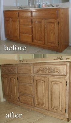 Annie Sloan Chalk Paint Old White with Dark Walnut Glaze and wax. Builder grade, oak, bathroom vanity remodeling for master bath. I love Annie Sloane Chalk Paint...and the waxes...makes for awesome refinishing. <3, this makes me wish I had kitchen cabinet doors! by debbie.rose.37