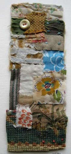 Textile Collage Strippy unframed by MandyPattullo on Etsy, £25.00
