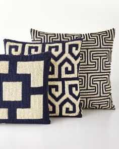Mykonos Pillows by Jonathan Adler at Horchow. Accent Pillows, Bed Pillows, Cushions, B&b Italia Sofa, Tooth Pillow, Pillow Inspiration, Needlepoint Pillows, Textiles, Jonathan Adler