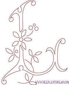 Monogram for Hand Embroidery: the Letter L