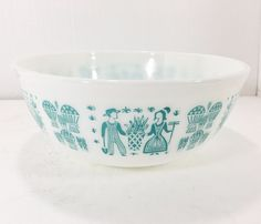 Pyrex Amish Butterprint 404 4 Quart Mixing Nesting Bowl Turquoise on Whiite #Pyrex