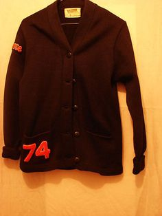 Vintage High School Letter Sweater 1974 Black Wool School Sweater $58.00