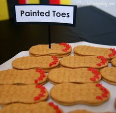 """Painted Toes"" Nutter Butters -- Click through for more ideas for a ""Foot Themed- Back to School Party"""