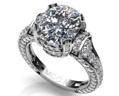 Engagement Ring - Large Cushion Diamond Cathedral Graduated pave Engagement Ring 1.25 tcw. In White Gold - ES745CUWG