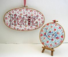 'Home' And Heart, Hand Embroidered Hoop Art