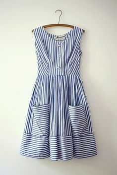 Nautical dress with pockets, be still my heart. Blue and white vertical stripes