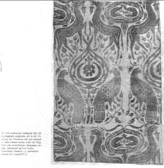 This fabric is compared to a brocaded silk pictured elsewhere in the book. It is printed in silver on rose colored linen. Rhineland 14th century - it doesnt say but from the number appears to be in Krefeld 00967/FF25. From Das Buch von Alten Farben by Emil Ploss