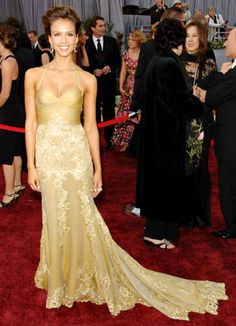 Jessica Alba in Versace (Oscars 2006)- saw this in a magazine and went crazy trying to find a duplicate for prom