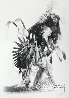 https://flic.kr/p/6ZhavM | Bullet, a traditional dancer | This is a print from an original pencil drawing of not just a traditional dancer, but the finest traditional Indian dancer I'ver ever seen. He has been the subject of many of my drawings/paintings, and in the years I've drawn him, has become a close friend. Bullet Standingdeer, eastern-band Cherokee.