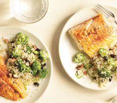 Spiced cod with broccoli-quinoa pilaf