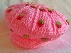 Strawberry shortcake costume hat strawberry shortcake hat pink with strawberries newborn and up you pick the size-Made to order Strawberry Shortcake Costume, Pink Pages, Crochet Strawberry, Costume Hats, Crochet Baby Hats, Crochet Projects, Strawberry Fields, Strawberry Jam, Valentines