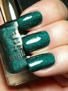 Teal nail manicure