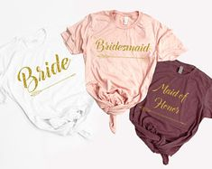 Bridesmaid Tshirt.Bride.Bachelorette Party.UNISEX SHIRTS.Bride to be.Wedding.Bridal Shower.Bridal Party.Engage Gift.Honeymoon.GOLD Glitter#ad